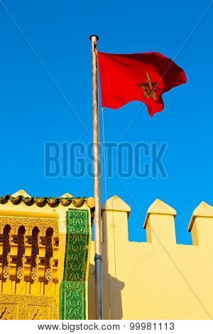 Tunisia  Waving Flag In The Blue Sky    Battlements