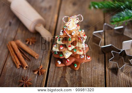 Homemade Baked Christmas Gingerbread Tree On Vintage Wooden Back