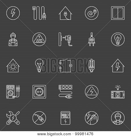 Electricity thin line icons