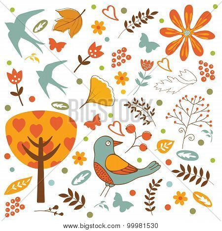 Autumn set with birds, flowers and leaves