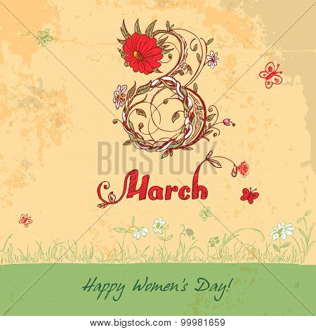 Women's Day March 8 Vintage Card