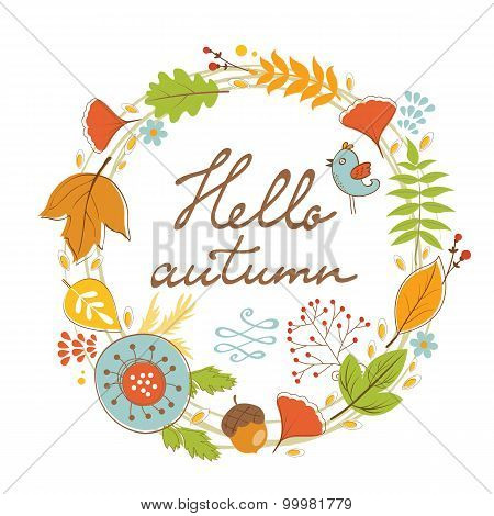 Beautiful hello autumn card with wreath
