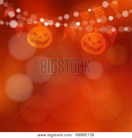 Halloween Or Dia De Los Muertos Card With Pumpkin And Lights, Vector