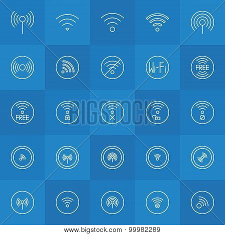 Set of thin line wi-fi icons