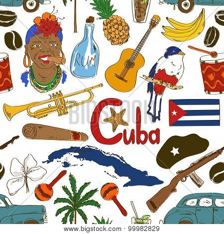 Sketch Cuban Seamless Pattern.