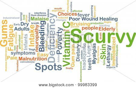 Background concept wordcloud illustration of scurvy