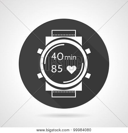 Black round vector icon for sports watch