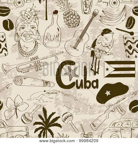 Retro Sketch Cuban Seamless Pattern