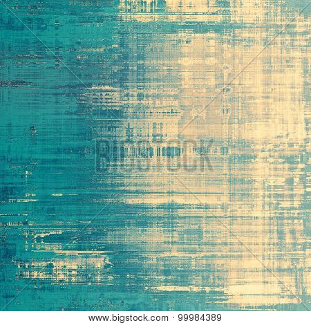 Abstract grunge background with retro design elements and different color patterns: yellow (beige); gray; blue; cyan