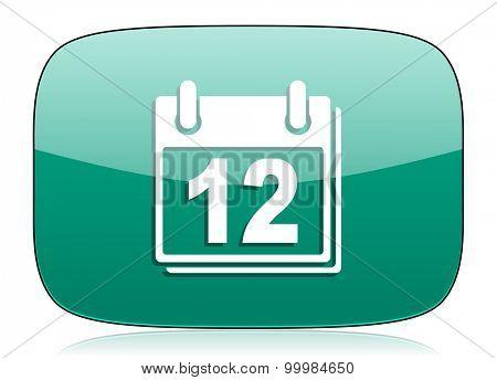 calendar green icon organizer sign agenda symbol
