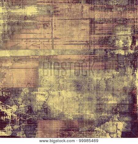 Weathered and distressed grunge background with different color patterns: yellow (beige); gray; pink; purple (violet)