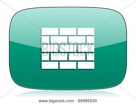 firewall green icon brick wall sign