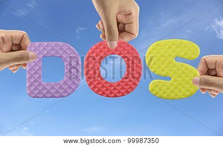 Hand Arrange Alphabet Dos Of Acronym Disk Operating System.