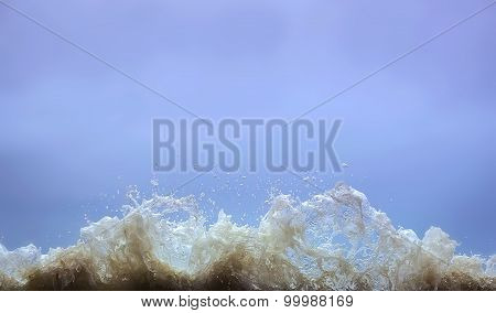 Splashes Of Water From The Sea Waves Big Frozen