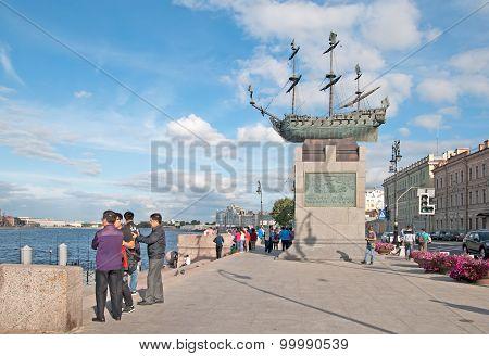 Saint-Petersburg. Russia. Chinese people on the Voskressenskaya Embankment