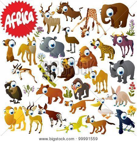 Cartoon African animals set: Gazelle, Elephant, Hippo, Rhino, Crocodile, Giraffe, Orangutan, Camel, Pelican, Fossa, Impala, Aardvark, Okapi, Baboon, Lemur, Wildebeest, Emu, Hyena, Coyote and Vulture