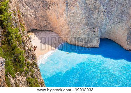 Beautiful Navagio Beach (Shipwreck beach) on Zakynthos Island, Greece