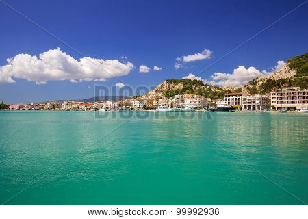 Panorama of the Zakinthos city at the bay of Greece