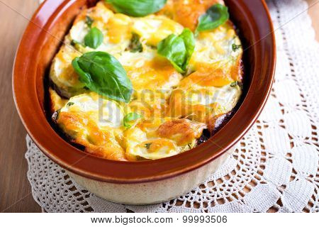 Courgette And Eggplant Cheese Bake