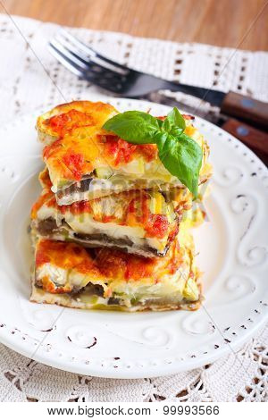 Courgette And Eggplant Cheese And Tomato Bake