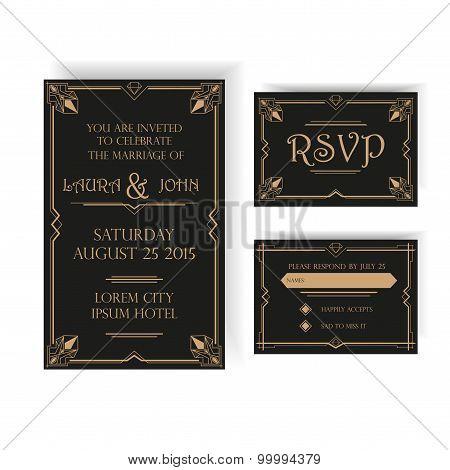 Wedding Invitation and RSVP Card - Art Deco Vintage Style