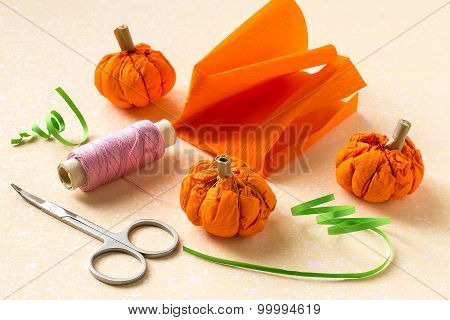 Making Paper Pumpkins For Halloween