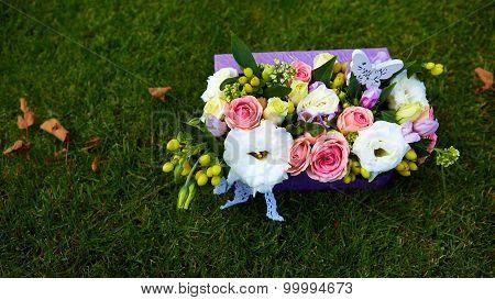 Beautiful flowers in a basket