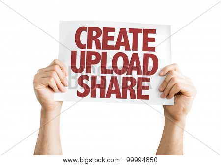 Create Upload Share card isolated on white