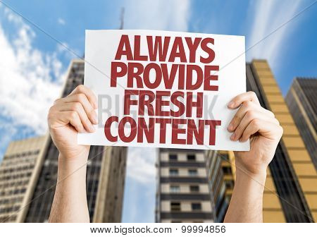 Always Provide Fresh Content card with urban background