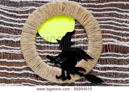Decoration For Halloween: Witch Of Paper On Jute Ring