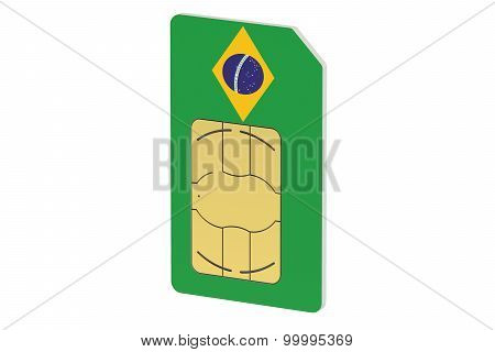 Sim Card With Flag Of  Brazil