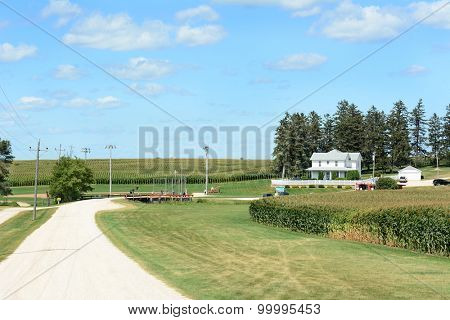 DYERSVILLE, IOWA - AUGUST 20, 2015: Field of Dreams movie set. Viewed from the entrance road both the house and field used in the 1989 movie are visible.