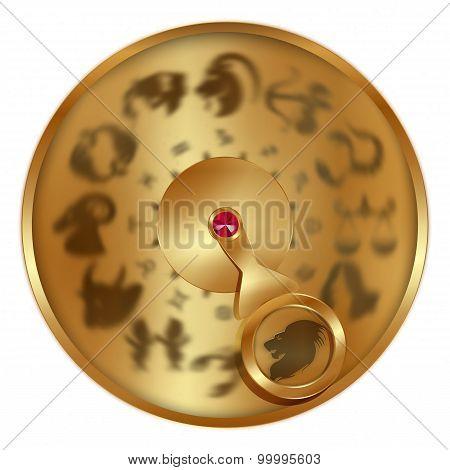 Leo Zodiac On A Golden Disk