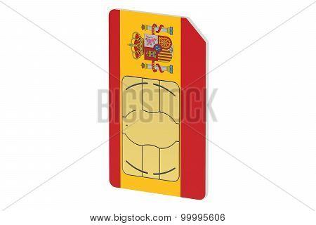 Sim Card With Flag Of Spain
