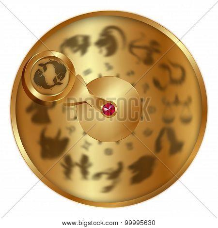 Pisces On A Golden Disk