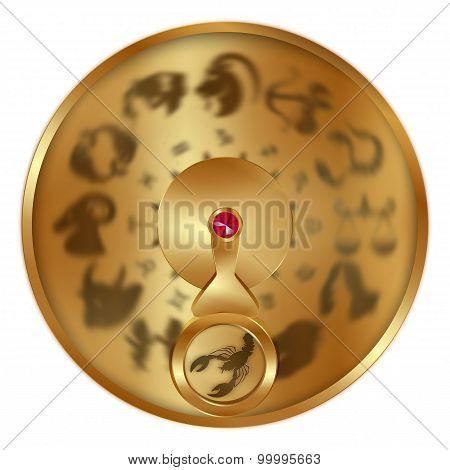 Sign Cancer On A Golden Disk