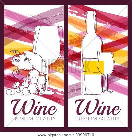 Vector Illustration Of Wine Bottle, Glass, Branch Of Grape And Watercolor Multicolor Stripes Backgro