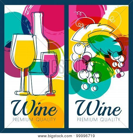 Vector Illustration Of Wine Bottle, Glass, Branch Of Grape And Colorful Watercolor Blots Background.