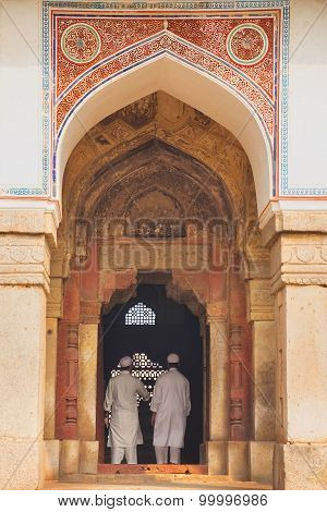 Delhi, India - November 4: Unidentified Men Stand At Isa Khan Tomb At Humayun's Tomb Complex On Nove