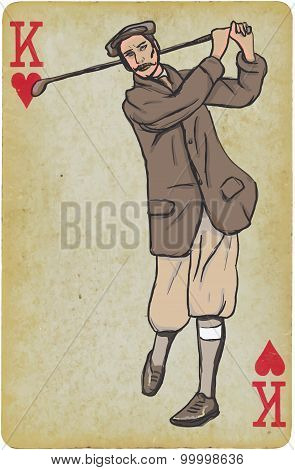 Playing Card, King - Vintage Golfer, An Man. Freehand Drawing.