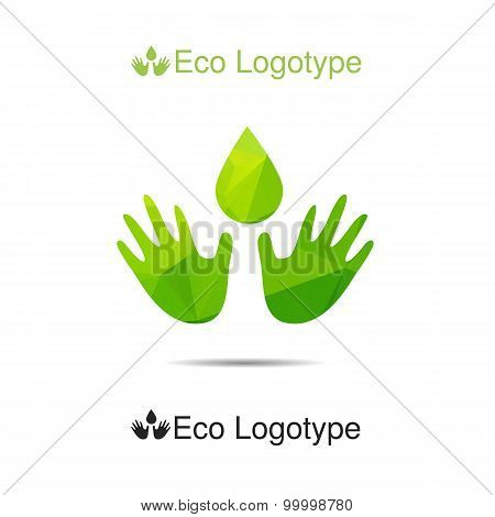 Ecology Logotype From Hands With Drop