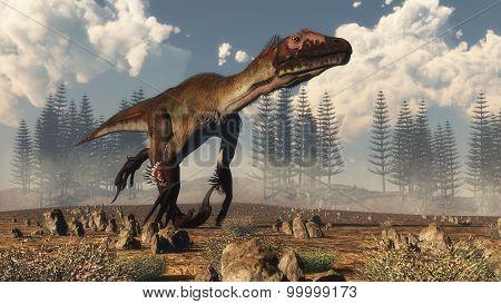 Utahraptor dinosaur in the desert - 3D render