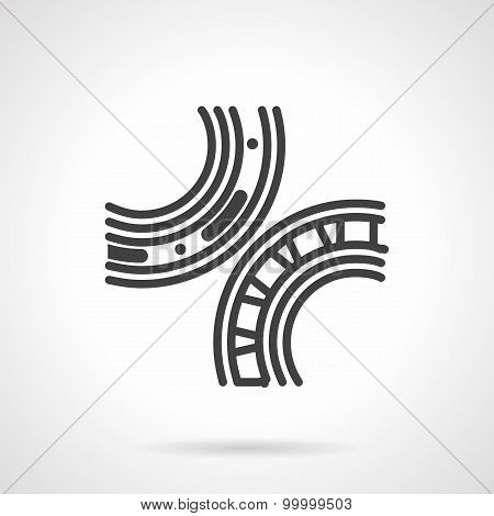 Bearings mechanism black line vector icon