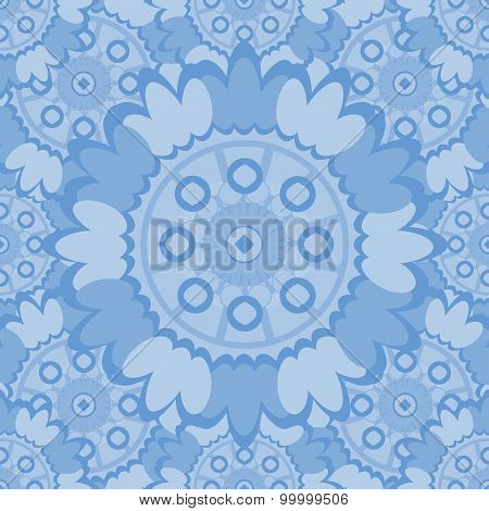 Pale Abstract Seamless Pattern With Round Ornamental Elements. Vector Soft Blue Background.