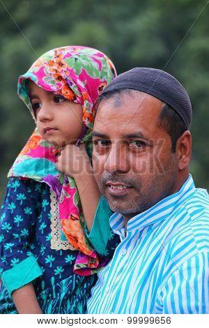 Delhi, India - November 5: Unidentified Man With Unidentified Girl Visit Jama Masjid On November 5,