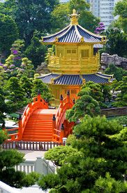 pic of hong kong bridge  - Golden Pagoda and red bridge in Nan Lian gardens Kowloon Hong Kong known as the Pavilion of Absolute Perfection - JPG
