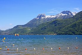 pic of annecy  - shores of Lake Annecy in the Spring - JPG