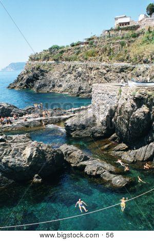Swimmers Cinque Terre